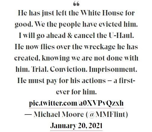 پیام مایکل مور برای پایان ریاست جمهوری دونالد ترامپ