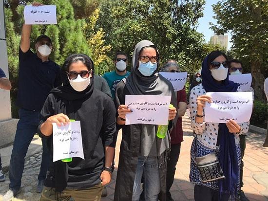 تجمع تعدادی از اهالی سینما در حمایت از مردم خوزستان